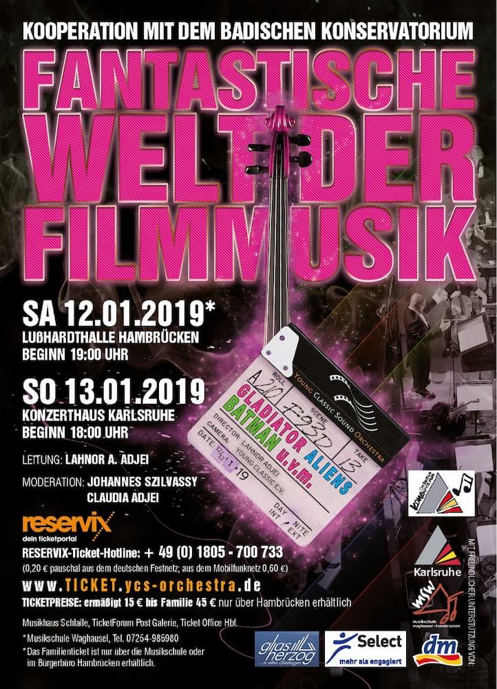 """""""Fantastische Welt der Filmmusik!"""" Young Classic Sound Orchestra konzertiert am 12.1.19, 19 Uhr in Hambrücken"""
