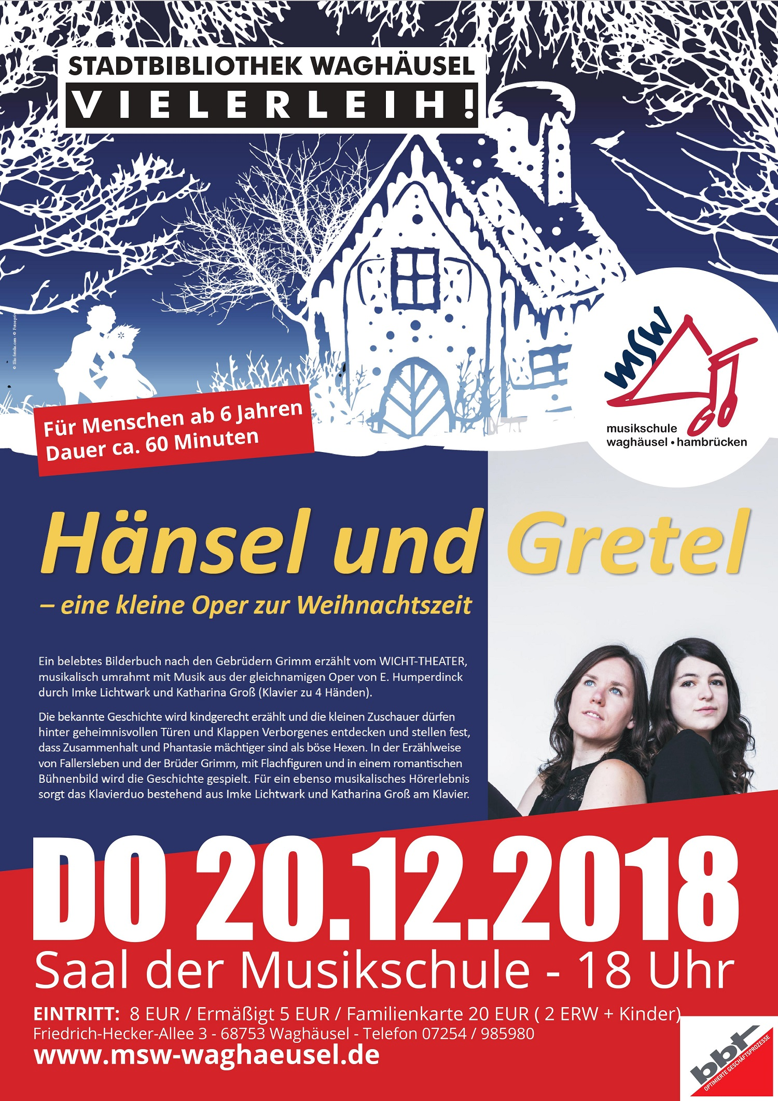 """Theaterstück """"Hänsel und Gretel"""" zu Weihnachten in der Musikschule"""